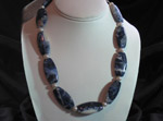 Sodalite oblong shapes with Fresh Water Pearls