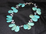 Bold Teardrop Turquoise and Fresh Water Pearls clusters with sterling